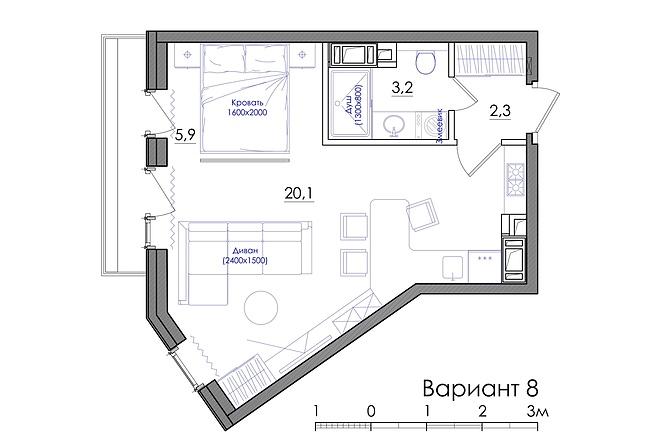 Планировка квартиры или жилого дома, перепланировка и визуализация 21 - kwork.ru