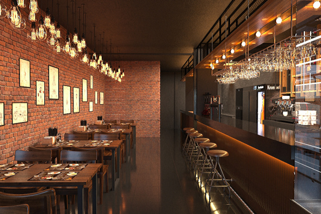 Создам визуализацию дизайна кафе, бара, шаурмечной 4 - kwork.ru