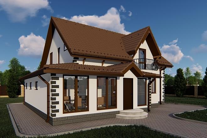 Фотореалистичная 3D визуализация экстерьера Вашего дома 133 - kwork.ru