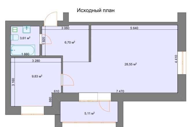 Планировочные решения. Планировка с мебелью и перепланировка 6 - kwork.ru