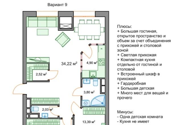 Планировочные решения. Планировка с мебелью и перепланировка 122 - kwork.ru