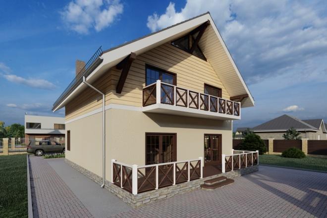 Фотореалистичная 3D визуализация экстерьера Вашего дома 113 - kwork.ru