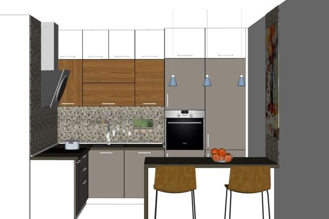 Дизайн-проект кухни. 3 варианта 8 - kwork.ru