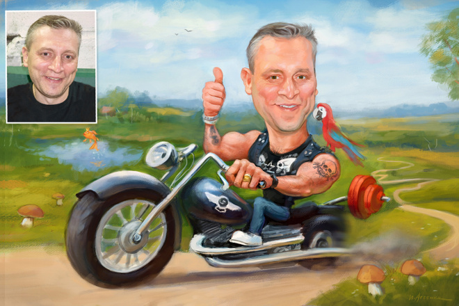 Дружеский шарж по фото, карикатура 8 - kwork.ru