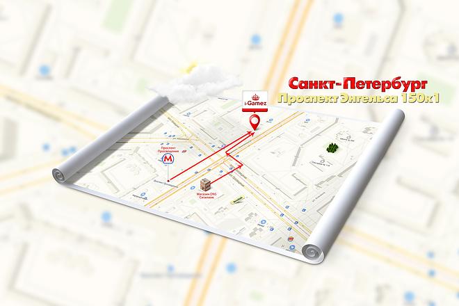Красивая схема и карта проезда 5 - kwork.ru