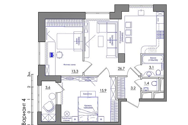 Планировка квартиры или жилого дома, перепланировка и визуализация 25 - kwork.ru