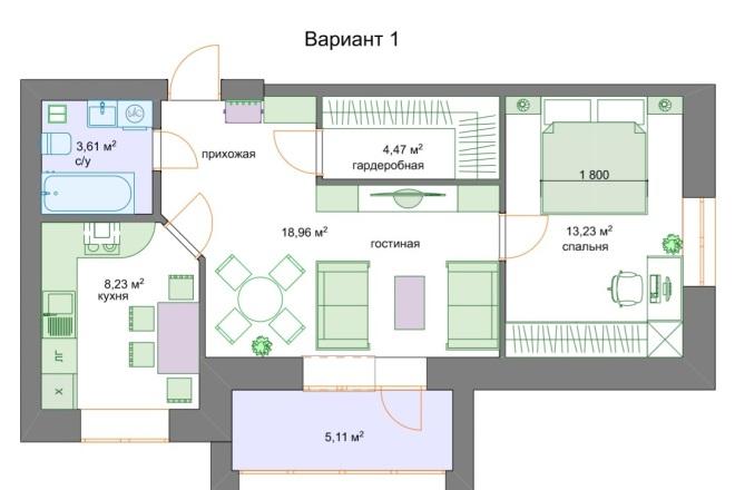 Планировочные решения. Планировка с мебелью и перепланировка 5 - kwork.ru