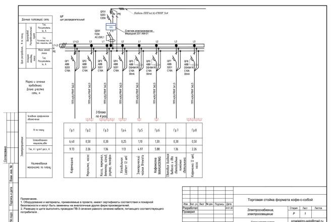 Выполню однолинейную схему электроснабжения 13 - kwork.ru