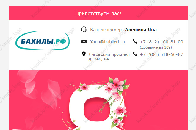 Html-письмо для E-mail рассылки 8 - kwork.ru