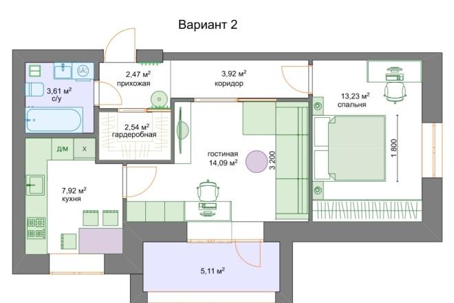 Планировочные решения. Планировка с мебелью и перепланировка 4 - kwork.ru