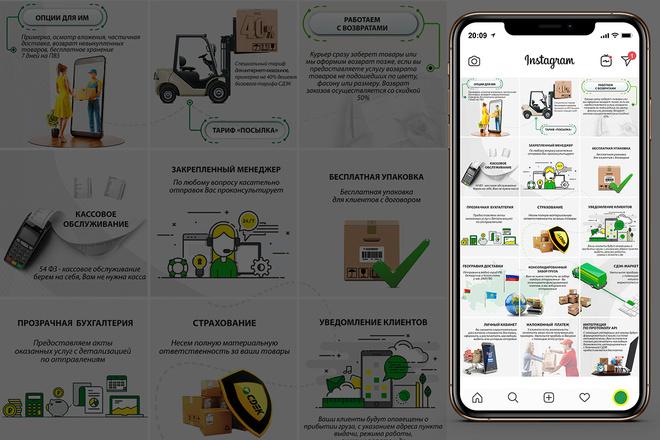 Оформление инстаграм. Дизайн 15 шаблонов постов и 3 сторис 3 - kwork.ru