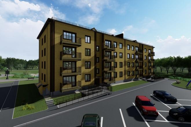 Визуализация экстерьера, фасадов здания 4 - kwork.ru