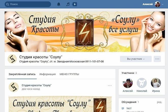 Оформлю группу ВК - обложка, баннер, аватар, установка 54 - kwork.ru