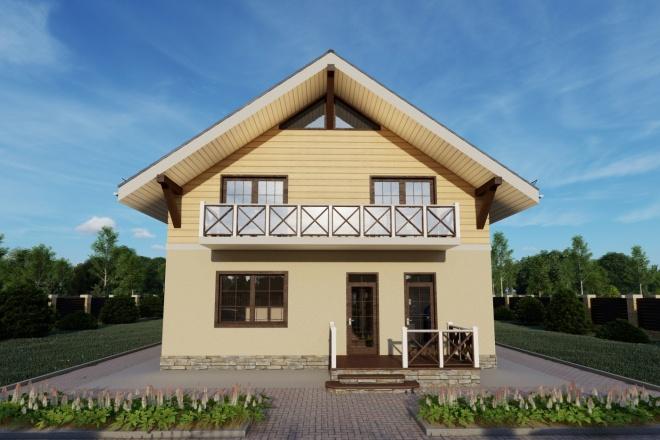 Фотореалистичная 3D визуализация экстерьера Вашего дома 111 - kwork.ru