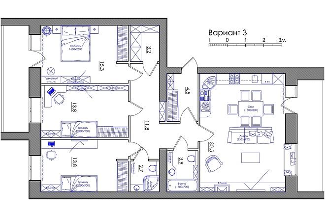 Планировка квартиры или жилого дома, перепланировка и визуализация 40 - kwork.ru