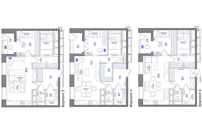 Планировка квартиры или жилого дома, перепланировка и визуализация 44 - kwork.ru