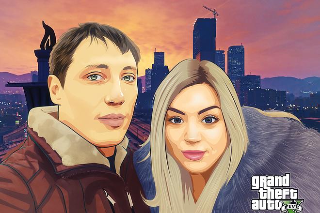 Нарисую портрет в стиле ГТА 4 - kwork.ru