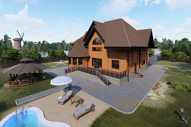 Фотореалистичная 3D визуализация экстерьера Вашего дома 157 - kwork.ru