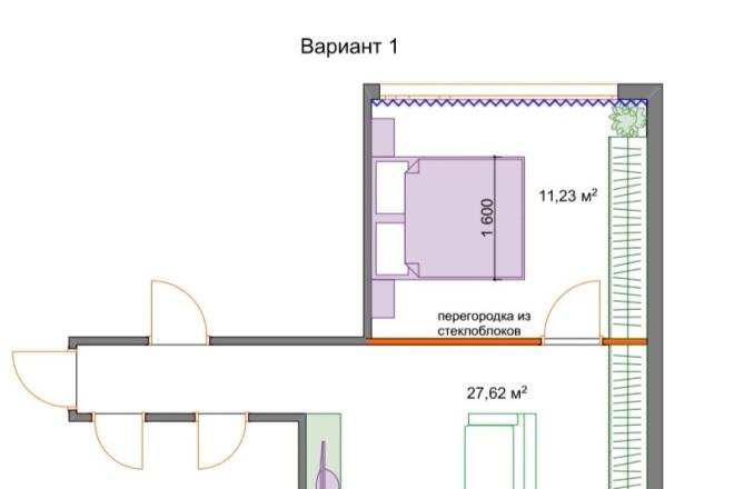 Планировочные решения. Планировка с мебелью и перепланировка 33 - kwork.ru