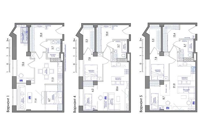 Планировка квартиры или жилого дома, перепланировка и визуализация 45 - kwork.ru
