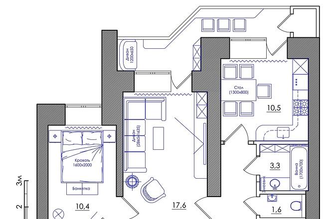 Планировка квартиры или жилого дома, перепланировка и визуализация 30 - kwork.ru