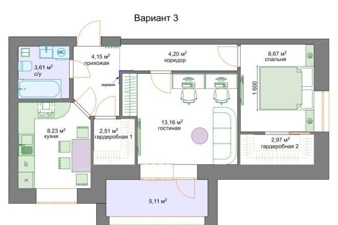 Планировочные решения. Планировка с мебелью и перепланировка 3 - kwork.ru