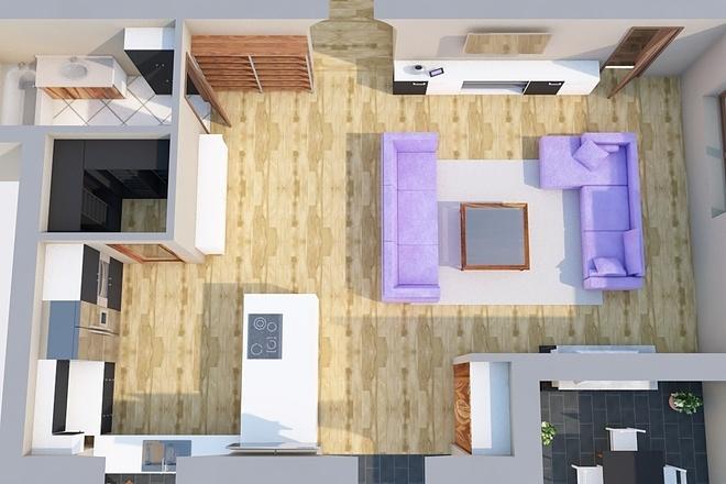 Создам планировку дома, квартиры с мебелью 53 - kwork.ru