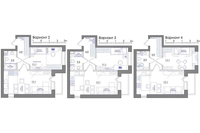 Планировка квартиры или жилого дома, перепланировка и визуализация 41 - kwork.ru