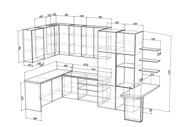 Проект корпусной мебели, кухни. Визуализация мебели 39 - kwork.ru