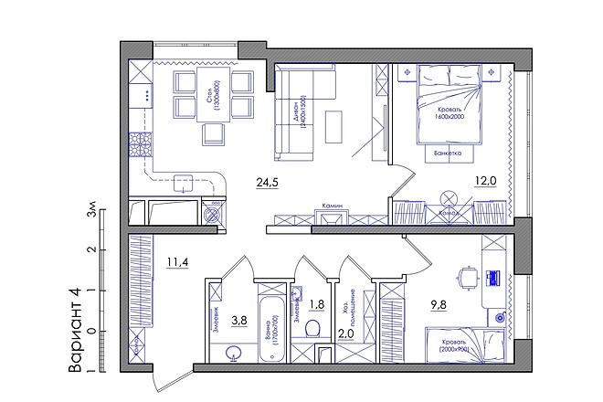 Планировка квартиры или жилого дома, перепланировка и визуализация 27 - kwork.ru