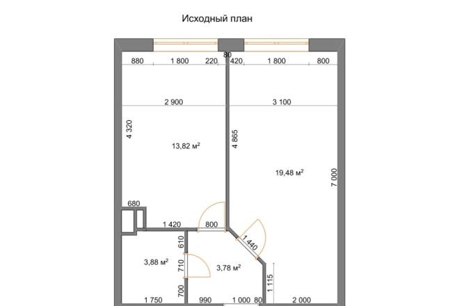 Планировочные решения. Планировка с мебелью и перепланировка 56 - kwork.ru