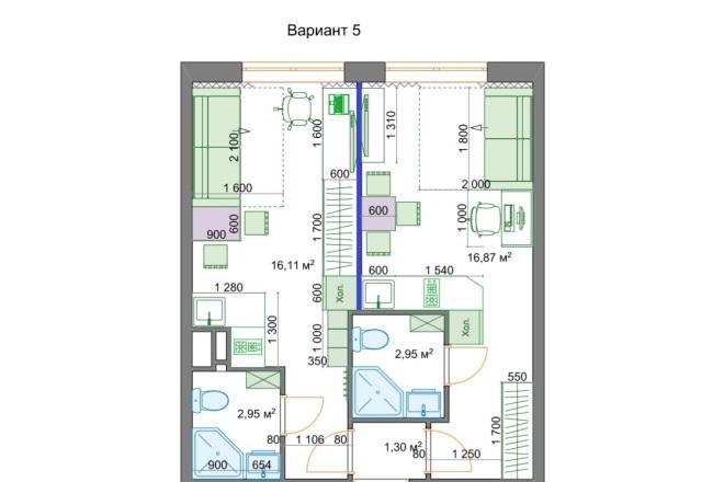 Планировочные решения. Планировка с мебелью и перепланировка 57 - kwork.ru