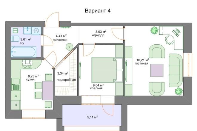 Планировочные решения. Планировка с мебелью и перепланировка 2 - kwork.ru