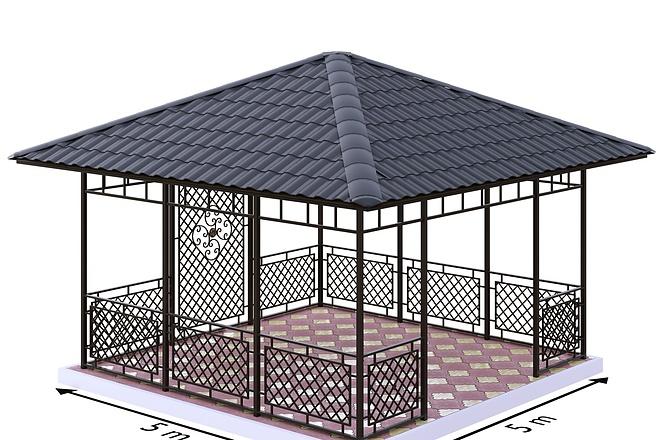 Сделаю 3d модель кованных лестниц, оград, перил, решеток, навесов 4 - kwork.ru