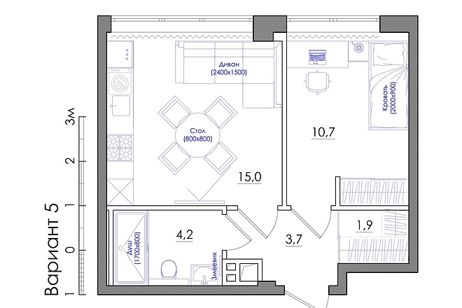Планировка квартиры или жилого дома, перепланировка и визуализация 10 - kwork.ru