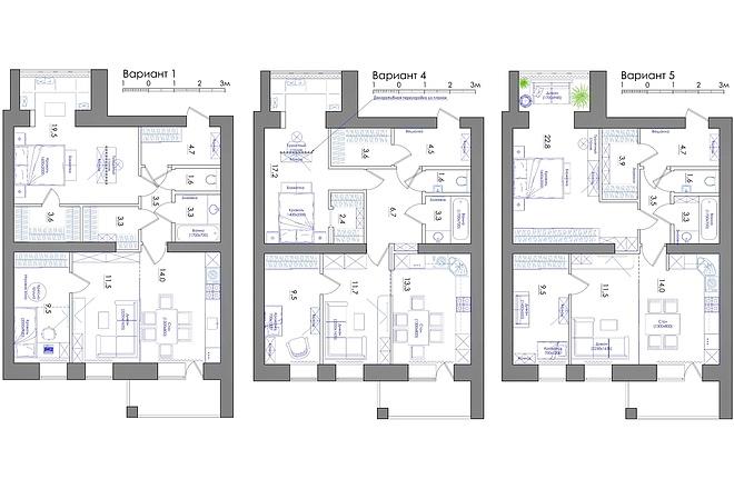 Планировка квартиры или жилого дома, перепланировка и визуализация 35 - kwork.ru