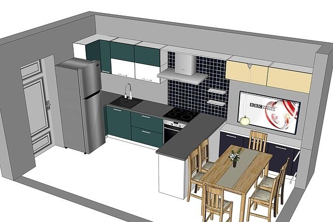 Дизайн-проект кухни. 3 варианта 11 - kwork.ru