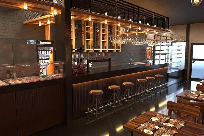 Создам визуализацию дизайна кафе, бара, шаурмечной 2 - kwork.ru