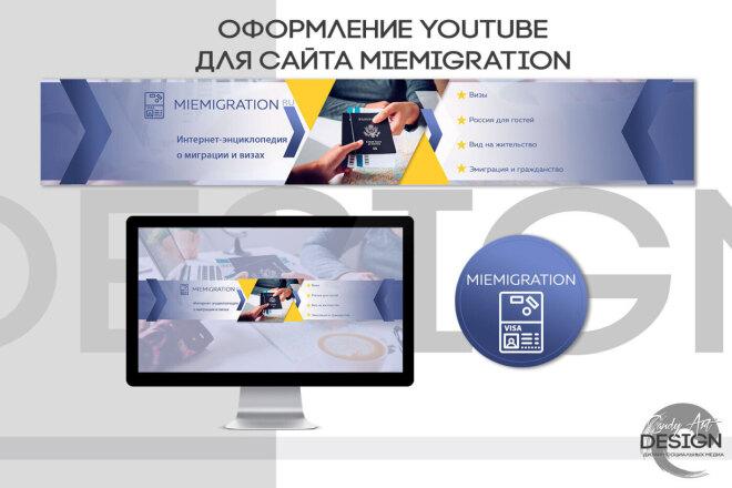 Оформление канала Ютуб. Дизайн шапки Youtube 10 - kwork.ru