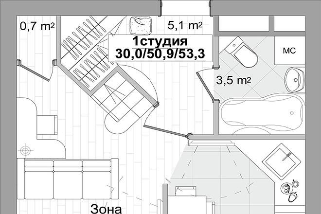 Планировка двухкомнатной квартиры за 24 часа 4 - kwork.ru