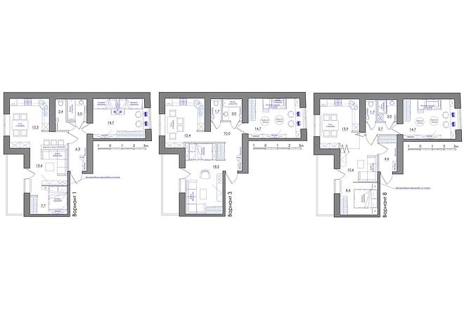 Планировка квартиры или жилого дома, перепланировка и визуализация 38 - kwork.ru