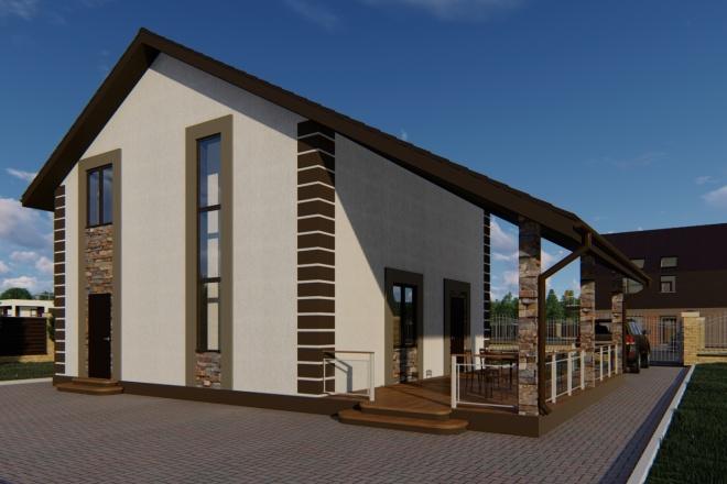 Фотореалистичная 3D визуализация экстерьера Вашего дома 124 - kwork.ru