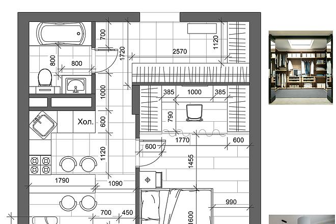 Разработка 3 вариантов планировки квартиры 13 - kwork.ru