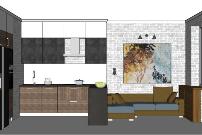 Дизайн-проект кухни. 3 варианта 6 - kwork.ru