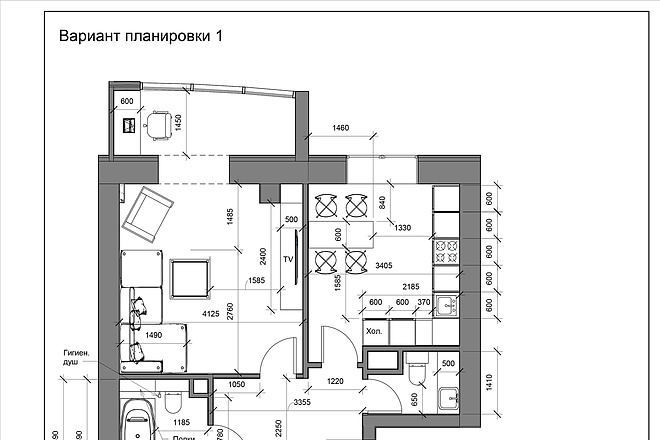 Разработка 3 вариантов планировки квартиры 11 - kwork.ru