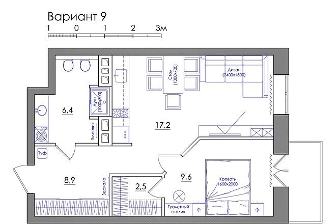 Планировка квартиры или жилого дома, перепланировка и визуализация 17 - kwork.ru
