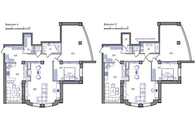 Планировка квартиры или жилого дома, перепланировка и визуализация 34 - kwork.ru