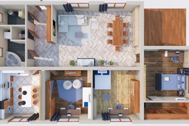 Создам планировку дома, квартиры с мебелью 3 - kwork.ru