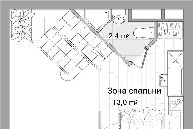 Планировка двухкомнатной квартиры за 24 часа 3 - kwork.ru