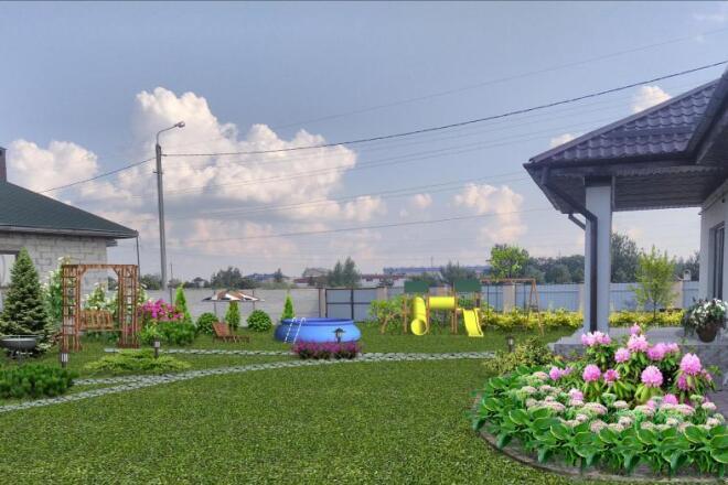 Визуализация благоустройства и озеленения территории, фото-эскиз 12 - kwork.ru